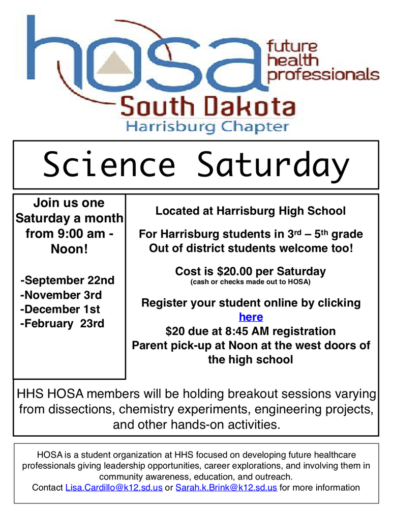 HOSA Kicks Off New Year of Science Saturdays