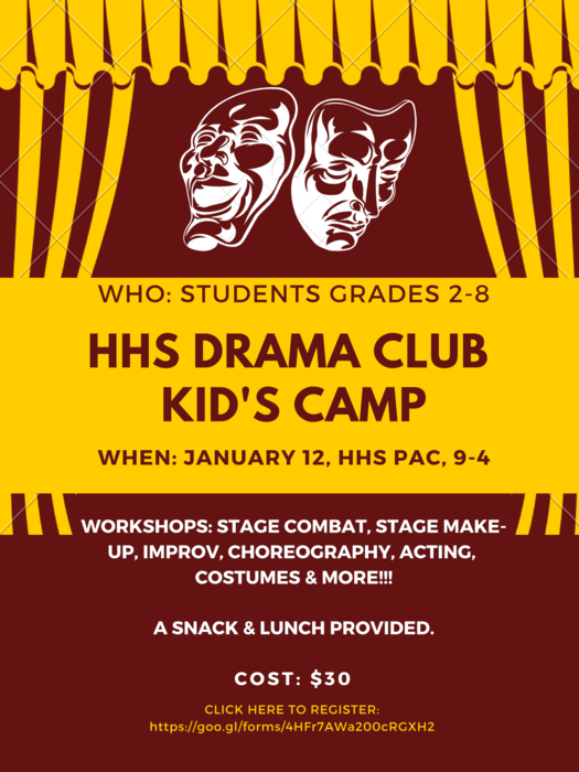 HHS Drama Club Kid's Camp Flyer