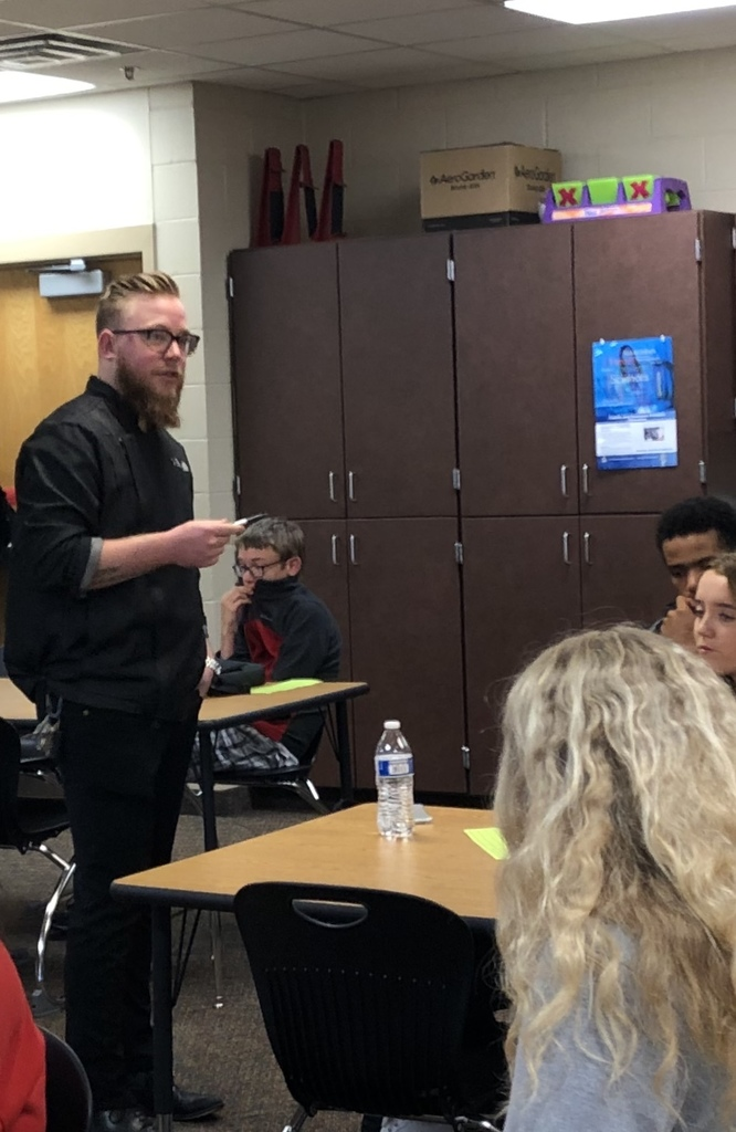 Chef Skajewski speaking to HHS Culinary Arts / Prostart students