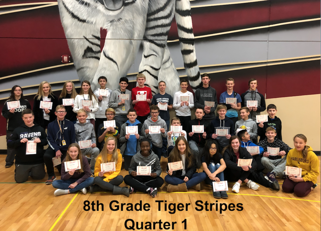 8th Grade Tiger Stripe Winners