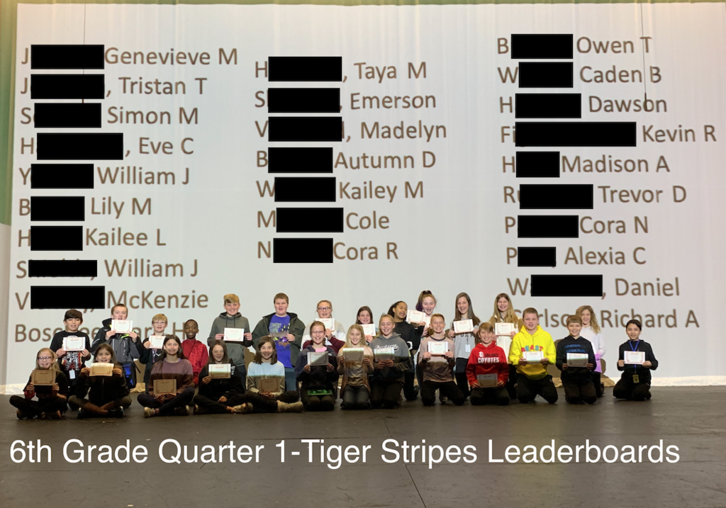 6th Grade Tiger Stripe Winners
