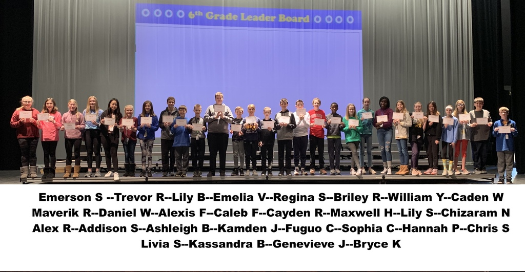 Top 6th Grade Students for Quarter 2